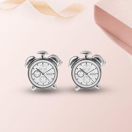 Clock Cuff Link in Silver Tone