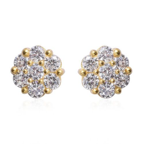 Set of 2 - ELANZA Simulated Diamond (Rnd) Stud Earrings (with Push Back) in Rhodium and Yellow Gold Overlay Sterling Silver