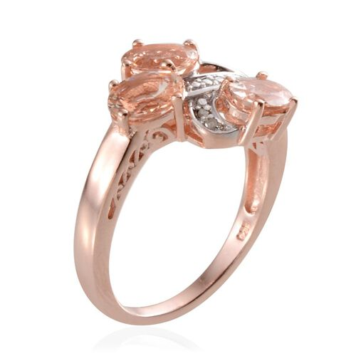 Marropino Morganite (Ovl), Diamond Ring in Rose Gold Overlay Sterling Silver 1.910 Ct.
