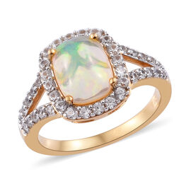 Ethiopian Welo Opal (Cush), Natural Cambodian Zircon Ring in 14K Gold Overlay Sterling Silver 1.750 Ct.
