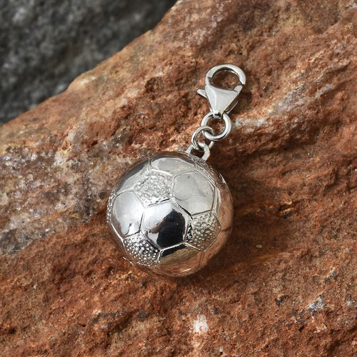 WEBEX- Platinum Overlay Sterling Silver Football Charm, Silver wt 5.52 Gms