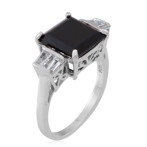 Boi Ploi Black Spinel (Sqr 6.50 Ct), White Topaz Ring in Rhodium Plated Sterling Silver 7.500 Ct.