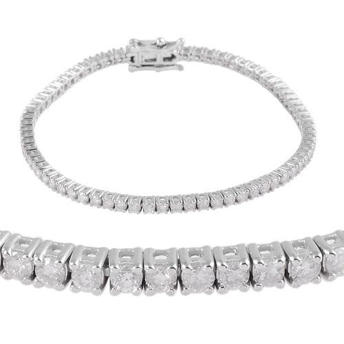 9K White Gold Diamond (Rnd) (I3 / G-H) Bracelet (Size 7.25) 3.0 Ct, Gold wt 9.50 Gms