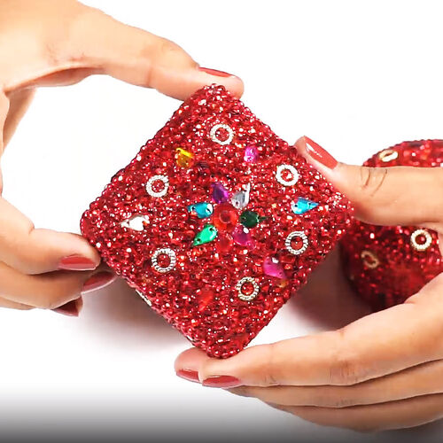 Set of 3 - Square, Round and Heart Shape Red Colour Jewellery Box   (Size 6x6x2.5 Cm, 6.5x3.5 Cm, 7x3 Cm)