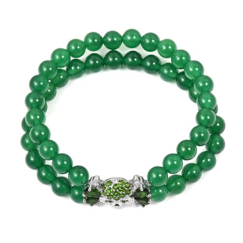 Limited Edition- Green Jade, Russian Diopside and Natural White Cambodian Zircon Stretchable Bracelet (Size 8) in Sterling Silver 183.220 Ct,