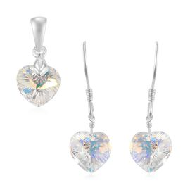 2 Piece Set - J Francis Crystal from Swarovski AB Colour Crystal Heart Hook Earrings and Heart Penda