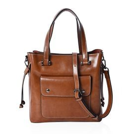 100% Genuine Leather Tote Bag with Removable Shoulder Strap (Size 26x10x26 Cm) - Brown