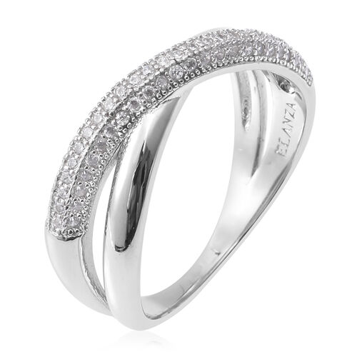Designer Inspired- ELANZA Simulated Diamond (Rnd) Ring in Sterling Silver, Silver wt. 4.02 Gms
