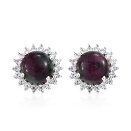 Ruby Zoisite (Rnd), Natural Cambodian Zircon Stud Earrings (with Push Back) in Platinum Overlay Ster