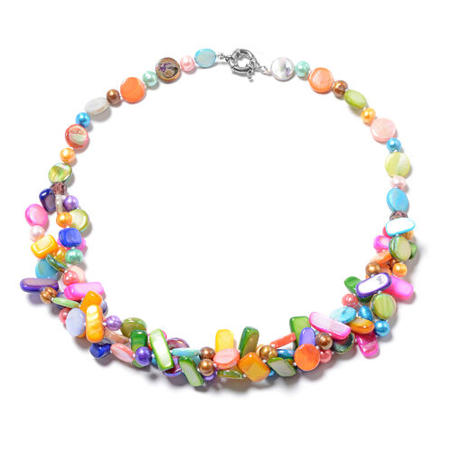 Multi Colour Freshwater Pearl and Multi Colour Shell with Purple Beaded Multi Row Necklace 20 Inch