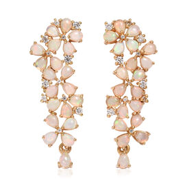 4.25 Ct Ethiopian Opal and Cambodian Zircon Floral Earrings in Gold Plated Sterling Silver 5.96 Gms