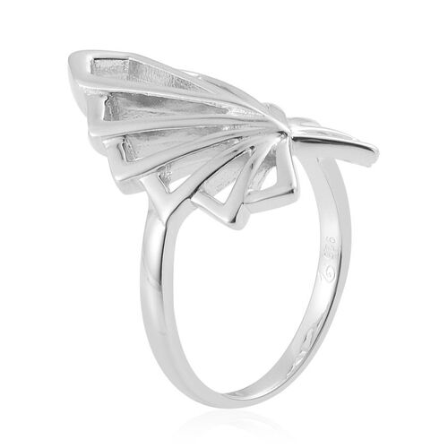 LucyQ Rhodium Overlay Sterling Silver Skeleton Angel Wing Ring