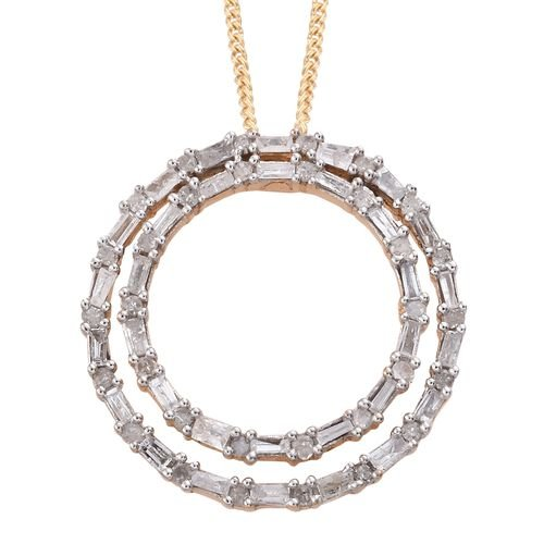 Designer Inspired- Fireworks Diamond (Rnd and Bgt) Concentric Circle Pendant With Chain in 14K Gold Overlay Sterling Silver 0.500 Ct.