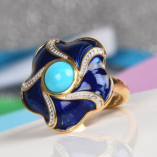 Arizona Sleeping Beauty Turquoise Enamelled Floral Ring in 14K Gold Overlay Sterling Silver 1.00 Ct, Silver wt 6.00 Gms