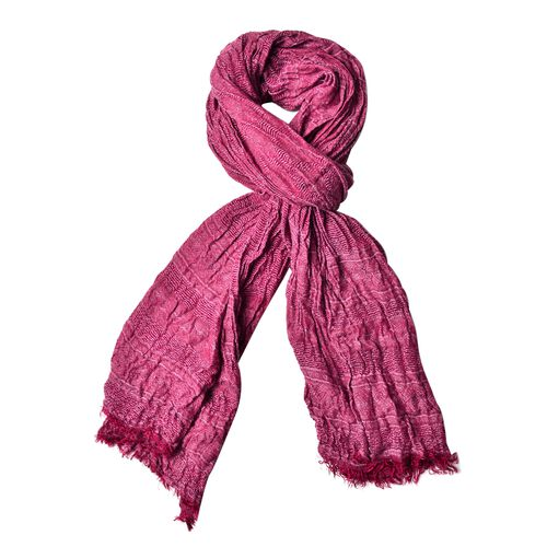 Wine Red Colour Scarf (Size 200X62 Cm) with Free Black Colour Hat