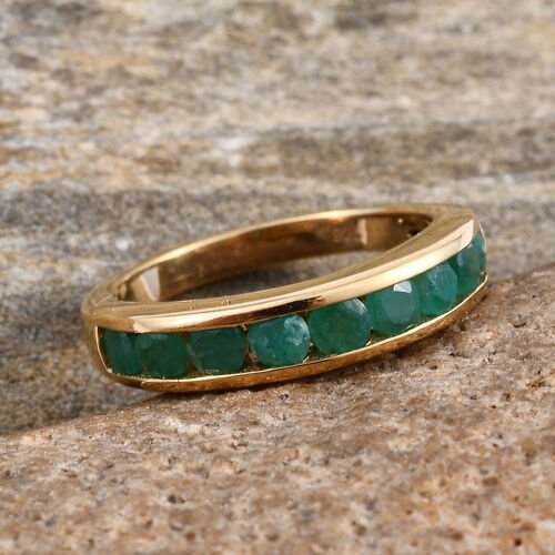 Kagem Zambian Emerald (Rnd) Half Eternity Band Ring in 14K Gold Overlay Sterling Silver 1.000 Ct.