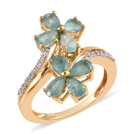 1.50 Ct Grandidierite and Zircon Twin Flower Crossover Ring in Gold Plated Silver