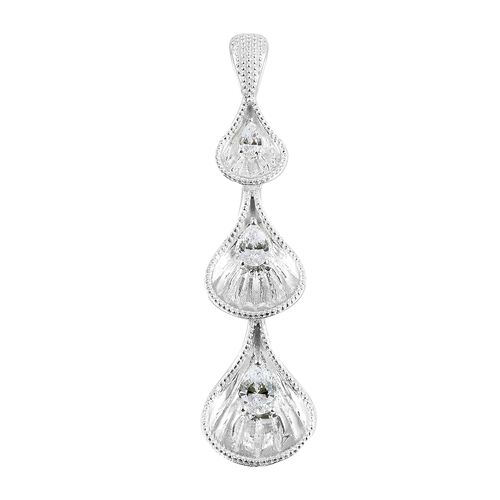J Francis - Sterling Silver (Pear) Pendant Made with SWAROVSKI ZIRCONIA, Silver wt 7.52 Gms.