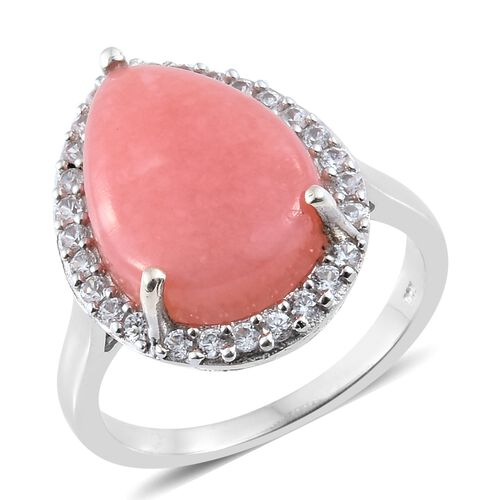 Peruvian Pink Opal (Pear 7.00 Ct), Natural Cambodian Zircon Halo Ring in Platinum Overlay Sterling Silver 7.750 Ct.