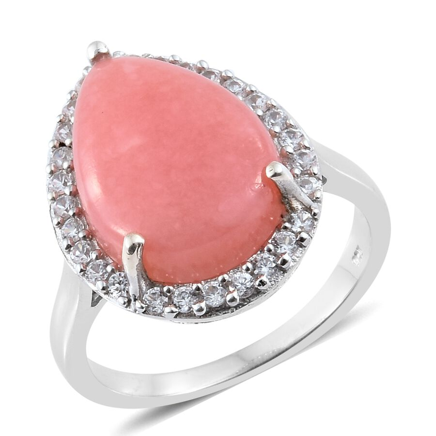 Pink Opal, Zircon Ring in Platinum Overlay Sterling Silver 7.75 Ct ...