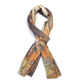 100% Modal Brown Colour Digital Print Scarf (Size 200x70)