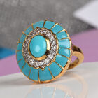 AA Arizona Sleeping Beauty Turquoise and Natural Cambodian Zircon Enamelled Ring (Size M) in 14K Gold Overlay Sterling Silver 1.50 Ct, Silver wt 7.45 Gms
