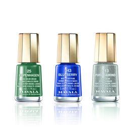 Blue Trio: Blueberry (343), Pure Diamond (213) & Copenhagen (025)