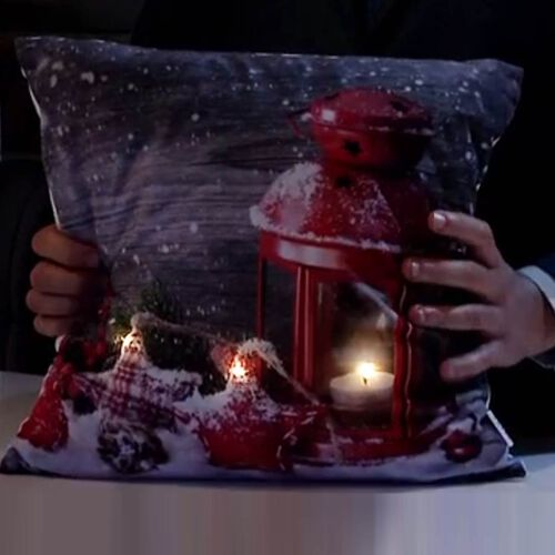 Christmas Seasonal Lantern Design Battery Operated 3 LED Cushion (Size 40x40 Cm) (2xAA Battery not Included)