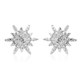 Christmas Stoking Filler- Diamond (Rnd) Snowflake Stud Earrings (with Push Back) in Platinum Overlay Sterling Silver