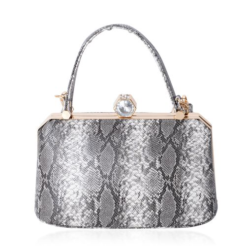 Boutique Collection Vintage Style SnakeSkin Pattern with  Shoulder Strap and White Austrian Crystal and Simulated Diamond (Size 26x15x12.5 Cm)