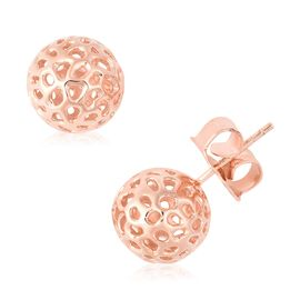 RACHEL GALLEY Rose Gold Overlay Sterling Silver Globe Ball Stud Earrings (with Push Back)