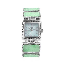 EON 1962 Swiss Movement Water Resistant Carved Green Jade (35.0 Ct.) Bracelet Watch (Size 6.5-8) in
