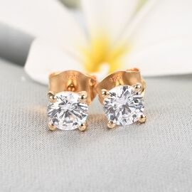 J Francis  - 14K Gold Overlay Sterling Silver Stud Earrings (with Push Back) Made with SWAROVSKI ZIRCONIA 1.730 Ct.