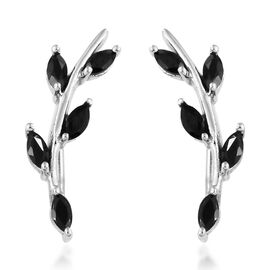 Thai Black Spinel (1.50 Ct) Platinum Overlay Sterling Silver Earring  1.000  Ct.