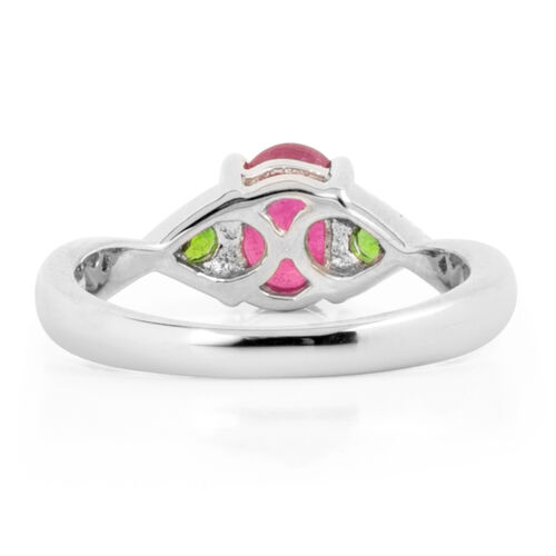 African Ruby (Ovl 1.10 Ct), Russian Diopside Ring in Rhodium Overlay Sterling Silver 1.220 Ct.
