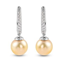 Royal Bali Collection - Golden South Sea Pearl and Natural Cambodian Zircon Earrings in Platinum Ove