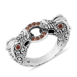 Bali Legacy Collection - Mozambique Garnet Dragon Head Ring in Sterling Silver Ring, Silver wt 9.50
