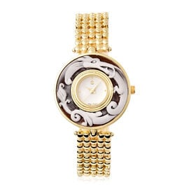 STRADA Japanese Movement Dragon Carved Dial Watch in Gold Tone
