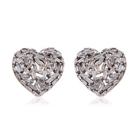 GP Diamond (Bgt), Kanchanaburi Blue Sapphire Heart Stud Earrings (with Push Back) in 14K Gold Overla