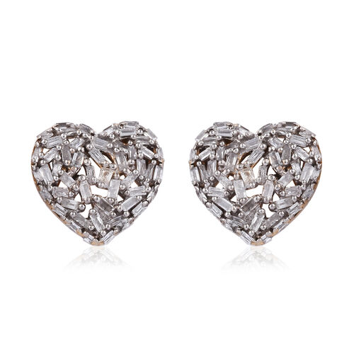 GP Diamond (Bgt), Kanchanaburi Blue Sapphire Heart Stud Earrings (with Push Back) in 14K Gold Overlay Sterling Silver 0.500 Ct,