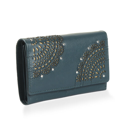 Cecilla Laser Cut Design 100% Genuine Leather Peacock Green Colour RFID Blocker Large Wallet (Size 15x10 Cm)
