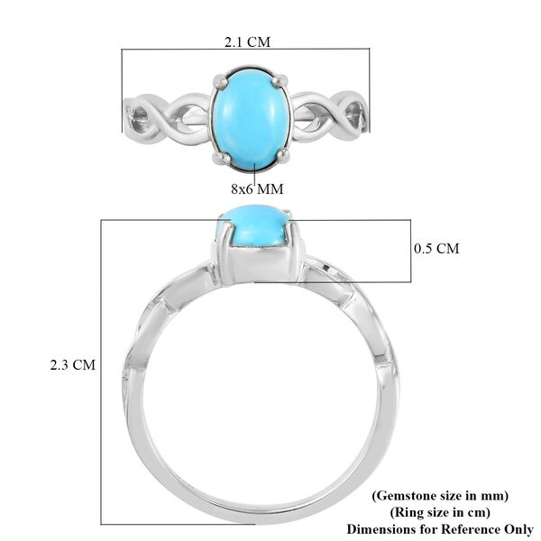 AA Arizona Sleeping Beauty Turquoise Solitaire Infinity Ring in Platinum Overlay Sterling Silver 1.11 Ct.
