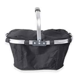 Lightweight Collapsible Insulated Picnic  Basket Hamper with Aluminium Handles (Size 42x28.5 Cm) - B