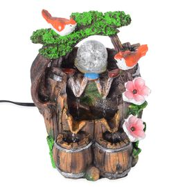 Garden Theme Water Fountain with Rotating Magical Light Globe(Size 20x11 Cm)