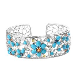 Arizona Sleeping Beauty Turquoise (Ovl), Kanchanaburi Blue Sapphire and Multi Gemstone Floral Cuff B