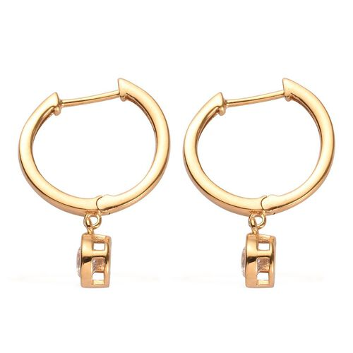 J Francis - 14K Gold Overlay Sterling Silver Hoop Earrings (with Clasp) Made with SWAROVSKI ZIRCONIA