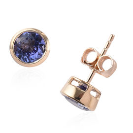 1.75 Ct AA Tanzanite Solitaire Stud Earrings in 9K Yellow Gold