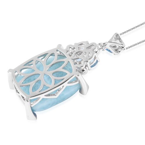 Larimar (Cush), Swiss Blue Topaz, Fresh water Pearl and Multi Gemstone Pendant with Chain in Rhodium Overlay Sterling Silver 21.060 Ct. Silver wt 5.71 Gms.