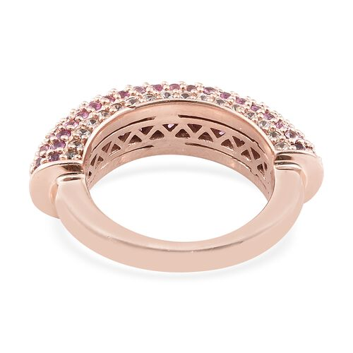 Designer Inspired- Pink Sapphire (Rnd), Natural Cambodian Zircon Cluster Ring in Rose Gold Overlay Sterling Silver 2.750 Ct. Silver wt 7.54 Gms. Number of Gemstone 141