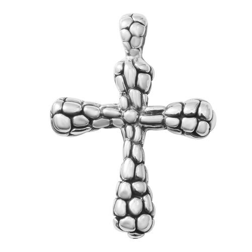 Rhodium Overlay Sterling Silver Cross Pendant, Silver wt 7.91 Gms.